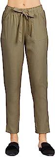 Khanomak 女式前系带口袋亚麻及踝长裤