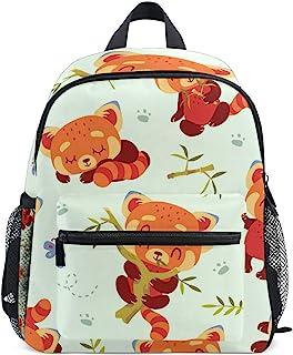 *背包适用于学校青少年女孩男孩卡通红色熊猫旅行包带胸扣和口哨