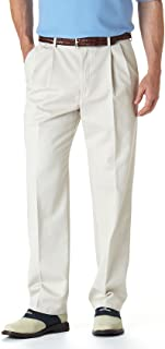 Haggar Men's Work-To-Weekend Khaki No-Iron Pleat-Front Pant with Hidden Expandable Waist