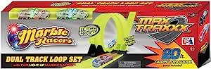 Max Traxxx 大理石追踪器赛车重力驱动双轨 Mega Loop 套装,带 2 辆发光赛车