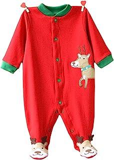 婴儿连体连衫裤,舒适棉质睡衣连脚连身衣,适合 0-12 个月新生儿