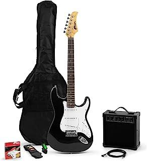 Tiger 初学者全尺寸电吉他起动器套装,配有放大器、绑带、备用弦、铅、分板和琴包 – 整套入门套装 – 黑色