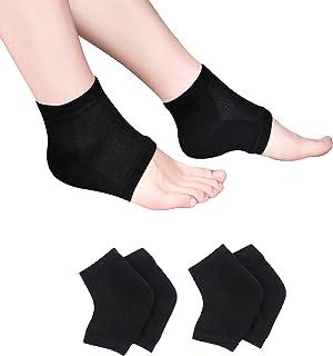 保湿袜,保湿/凝胶鞋跟袜,适用于干裂脚跟,透气凝胶 Spa 袜子,用于修复和*干燥,凝胶衬里注入维生素