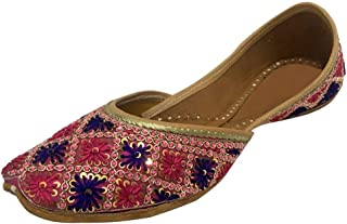 Step n Style 女式多色印度KHussa平底浅口鞋 Phulkari 配Payel