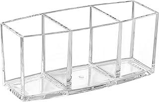 透明亚克力抽屉收纳盒 3 个部分,Dayaanee 塑料桌面抽屉收纳盒耐用储物收纳盒塑料方形盒,用于珠宝,化妆配件,化妆刷,7x3.1 英寸