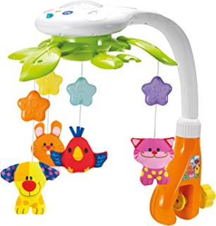 KiddoLab 婴儿床吊铃,带灯光和放松的音乐。 包括带星星吊灯投影机和动物。 音乐婴儿床铃,带计时器。 适合0至9个月宝宝的育儿玩具