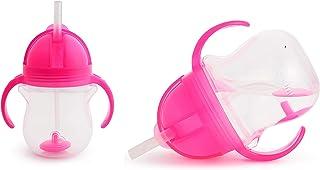 Munchkin 扣锁 7 盎司加重弹性吸管杯,2 只装 粉红色
