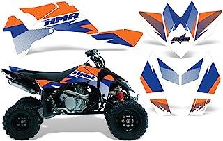 AMR Racing ATV 图形套件贴纸贴花与铃木 LT-R450 QuadRacer 2006-2009 兼容 - 速度蓝橙色