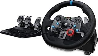Logitech 罗技 G29 Driving Force 游戏赛车方向盘,双电机力反馈,900°转向范围,赛车皮革方向盘,可调节不锈钢踏板,PS4/PS3/PC/Mac,黑色