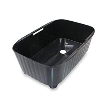 TONBO 清洗桶 纵横 排水 带喷嘴 日本制造 宽37×深23×高13厘米 黑色 水槽 新辉合成 34型
