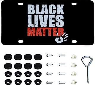 ONE250 黑色生活物质不锈钢汽车前车牌带螺丝盖罩套装,美国标准汽车车牌盖支架框架,汽车车牌标签(款式 2)