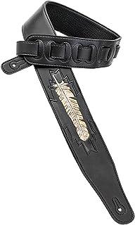 Walker & Williams CVG-115 黑色皮革加厚吉他背带手挤压羽毛