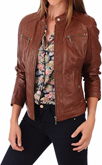 Leather Planet 女式羊皮飞行员机车夹克 - 冬季穿着 - *柔软光滑