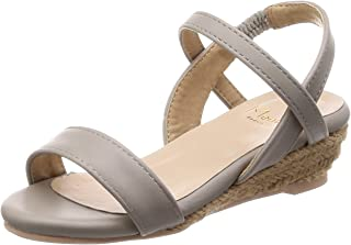 [黑白]绑带 2cm鞋跟 黄麻鞋跟 儿童凉鞋 女孩
