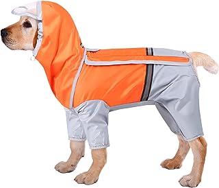 Queenmore 狗狗雨衣 防水宠物雨衣 带兜帽 轻便连帽斗篷 带腿部反光狗狗防雨夹克 带胸带 适合小型中大型犬