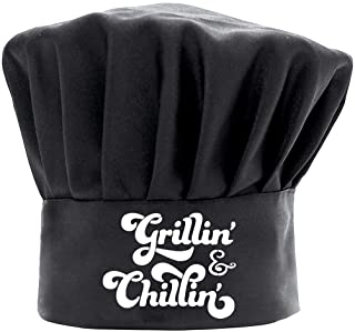 Grill Chef 帽子男士趣味黑色,BBQ Grill' & Chill' 烹饪帽子可调节厨房厨师帽生日礼物母亲节父亲节圣诞节礼物
