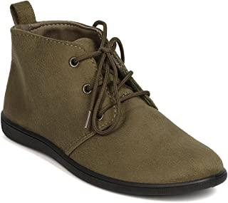 女式系带平底短靴一脚蹬及踝靴柔软休闲沙漠牛津鞋 SC02