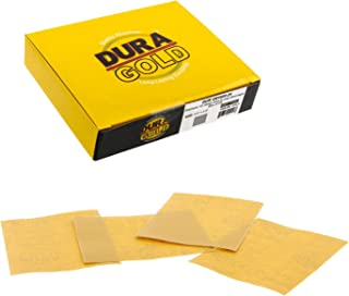 Dura-Gold – 高级 – 1000 砂金 – 1/4 页挂钩和环状或夹式砂纸 14.0 厘米 x 11.4 厘米 – 适用于汽车和木工手掌磨沙机 – 25 件