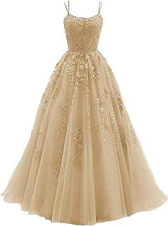 Lace Appliques 伴娘礼服 2021 长款细肩带薄纱长款正式派对晚礼服带裙裾