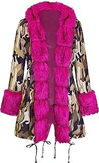 QZUnique 女式加厚保暖冬季外套人造毛皮连帽派克大衣长夹克蓬松开衫外套