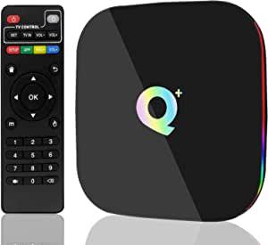安卓 9.0 电视盒,Q Plus 安卓电视盒 4GB RAM 32GB ROM 四核 H6 智能电视盒支持 3D 6k 超高清 2.4GHz WiFi 以太网 10/100M HDMI 输出