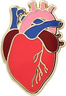 Real Sic Anatomical Heart 针 - 逼真科学心形珐琅别针 - 情人节翻领别针 适用于背包、帽子、包包、夹克和上衣的别针式