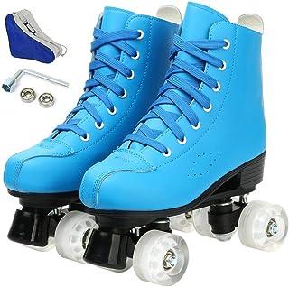 溜冰鞋女式男式初学者双排 4 轮现代可爱滑板鞋高帮滚轮靴适用于室内室外