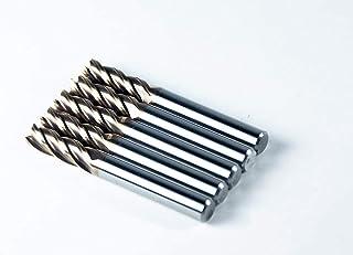Jarrow Tool 碳化物方形鼻端铣刀,适用于 CNC 机器铣削工具,适用于合金钢/硬化金属 - 4 槽 - 55HRC TiAlN 涂层(5 件,1/4)