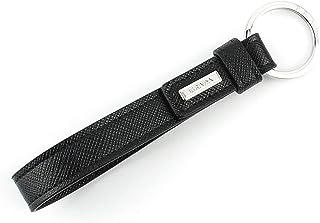 Prada Saffiano 皮革钥匙扣夹,黑色