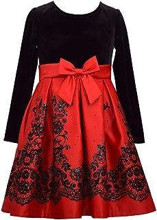 Bonnie Jean 女童圣诞红色长袖天鹅绒缎面连衣裙
