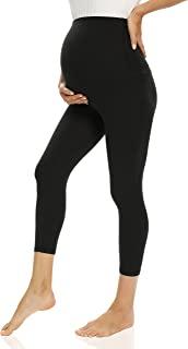 V VOCNI 孕妇打底裤,适合孕妇、锻炼、瑜伽裤、运动服、弹力打底裤, G-Capri 黑色, X-Large