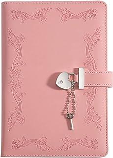 A5 日记本,带心形锁和钥匙,用于书写,PU 皮革内衬日记本笔记本,A5 日记本带锁,适合女士和女孩,粉色(1 件装)