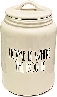 MAGENTA RAE DUNN BY MAGENTA 陶瓷宠物/狗零食罐/罐 | 刻字: Home is Where The Dog is
