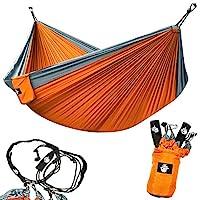 Legit 野营 - 双吊床 - 轻质降落伞便携式吊床适用于远足、旅行、背包、海滩、庭院装备 包括尼龙带和钢钩