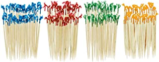 """Amscan Assorted Cello Frills Food-Safe Wooden Picks (130 Piece), 2-1/2"""", Blue/Red/Green/Yellow"""