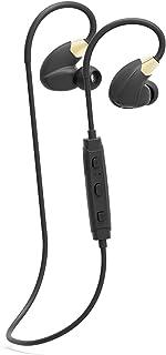 蓝牙运动耳机 入耳式耳机 | 无线立体声带耳挂耳机 | 耳机带麦克风,5 小时运行时间,超轻,防水,适用于 iPhone iOS Android 黑色/金色