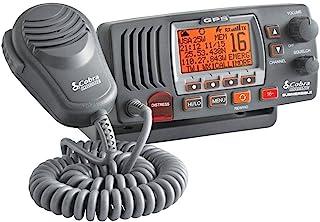 Cobra MR F77B GPS 固定安装 VHF 海洋收音机 – 25 瓦 VHF,内置 GPS 接收器,潜水,LCD 显示屏,降噪麦克风,NOAA 天气,信号强度计,扫描频道,黑色