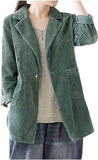 Ladyful 女式复古灯芯绒西装外套系扣翻领工作办公室外套