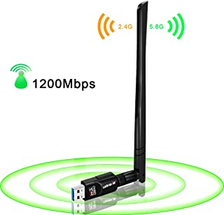 USB WiFi 适配器 1200Mbps,USB 3.0 无线网络 WiFi 同频器,带 5dBi 天线,适用于 PC 台式笔记本电脑 Mac,双频 2.4G/5G 802.11ac,支持 Windows 10/8/8.1/7/Vista/X...