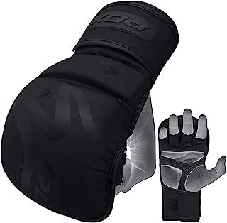 RDX MMA 武术训练和拳击手套 | Y-Volar 手掌哑光黑色凸面皮质格纹手套 | 非常适合跆拳道、泰拳拳拳击、拳击袋和笼格斗