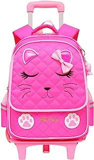 MITOWERMI 猫脸印花滚动背包防水书包旅行随身携带儿童行李女孩 2 Wheels Rose Red