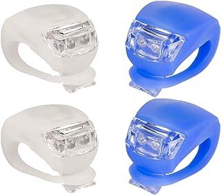 IntTool 自行车踏板车 前后推车 硅胶灯 防水多功能灯 4 件套 白色和蓝色