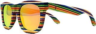木制太阳镜 - 多色多层彩虹木框 - 偏光镜片 - 手工异域风复古风格