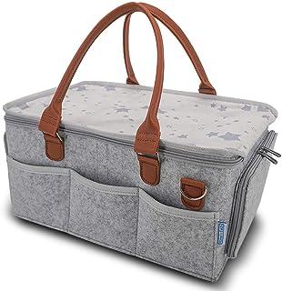 Home for Each 尿布盒收纳盒 – 便携式婴儿尿布储物袋带卷盖和可拆卸隔板 – 非常适合幼儿园、换尿布桌、汽车 – 适合旅行的宝宝必需品