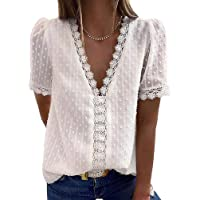 Sherosa 女式夏季蕾丝 V 领上衣复古优雅短袖雪纺衬衫