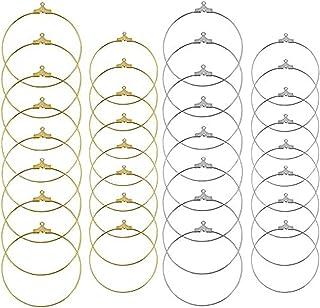 48 件 2 种尺寸圆形串珠耳环 带环 DIY 珠宝制作环(金色和银色)