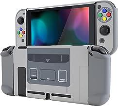 eXtremeRate PlayVital 后盖,适用于 Nintendo Switch ,NS Joycon 手持控制器保护硬壳,可插式保护壳,带彩色 ABXY 方向按钮盖 - SFC SNES 经典欧洲风格