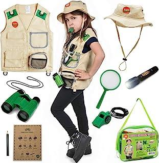 Born Toys 男童和女童户外探险者套装,配备可洗涤的高级Safari 背心,带拾荒者的探险套装