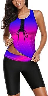Aleumdr 女式工字背心拼色印花分体泳衣泳装带游泳七分裤 S-XXXL 码 蓝色紫色 3X-Large