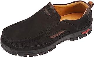CREPUSCOLO 男式徒步鞋,休闲一脚蹬乐福鞋真皮舒适男士步行鞋